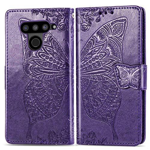 Bravoday Handyhülle für LG V50 ThinQ 5G Hülle, Stoßfest PU Leder Tasche Flip Hülle Schutzhülle für LG V50 ThinQ 5G, mit Kartenfäch und Kickstand, Dunkelviolett
