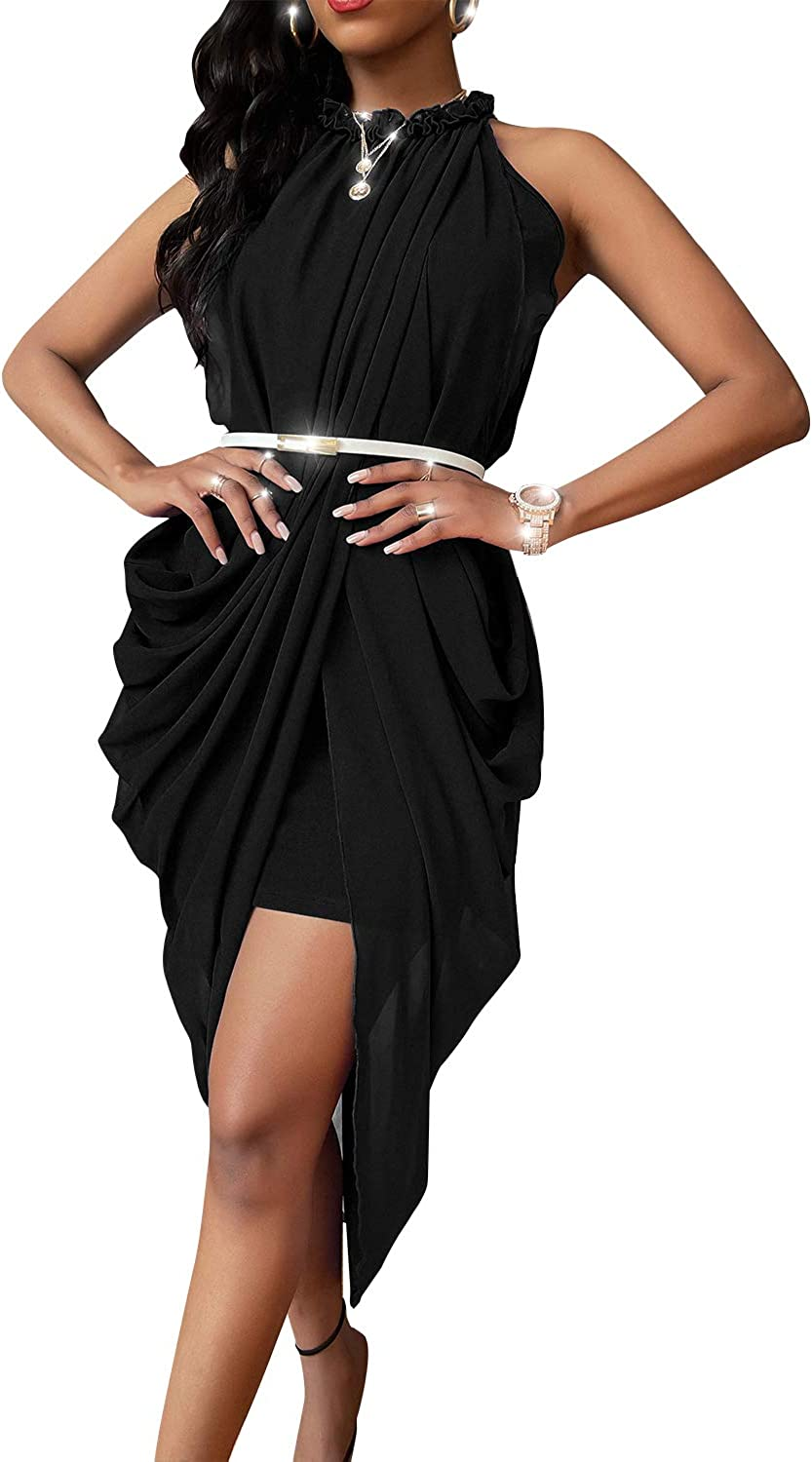 GIKING Womens Sleeveless Halter Pleated Cocktail Bodycon Dress Office Work Pencil Party Dresses with Belt