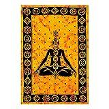 Future Handmade Tapiz de meditación para yoga, color amarillo y naranja, para colgar en la pared, tapiz hippies (tamaño doble, diseño T2)
