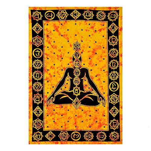 Future Handmade Tapiz para yoga y meditación, amarillo y naranja, tapiz para colgar en la pared, tapiz hippies (tamaño doble, diseño T2)