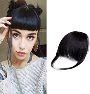 HIKYUU Thick Bangs Clip in Hair Extensions with Temples 100% Remy Human Hair for Black Women #1B Black Bangs with 2 Clips