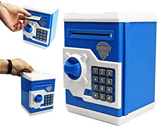 SZAT PRO Electronic Piggy Bank Kids' Money Banks Money Safe Box Password Key Code ATM Saver Toy-Blue