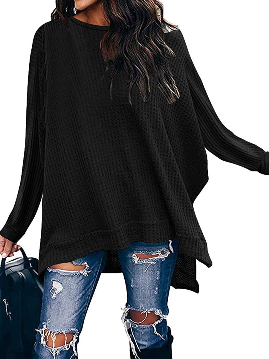 ANRABESS Women Crew Neck Batwing Sleeve High Low Hem Raleigh Mall Slit Side Max 87% OFF W
