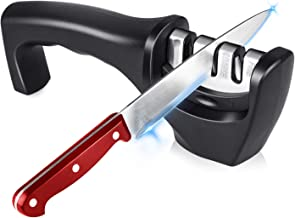 Salandens Afilador de cuchillos de cocina, 3 medidas, afiladores manuales con ranuras de cerámica / diamante / hoja de ace...