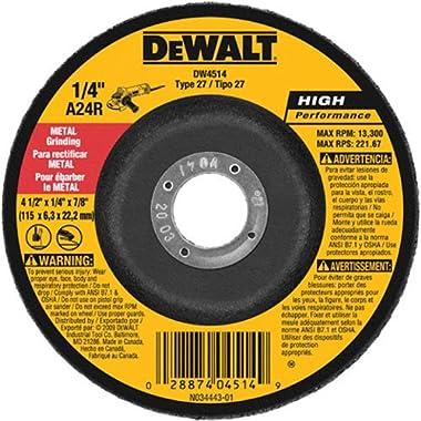 DEWALT DW4514B5 4-1/2-Inch by 1/4-Inch by 7/8-Inch Metal Grinding Wheel (5-Pack)