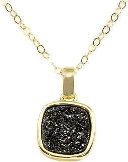 14k Gold Filled Drusy Pendant Necklace Black Druzy Goldtone Thick Bezel Small Dainty, 20