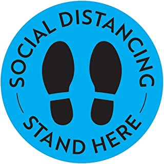 CharmCollection Floor Stickers Social Distance Sign Here Stickers Safety Floor Sign Marker 10 PCS Social Distancing Floor ...