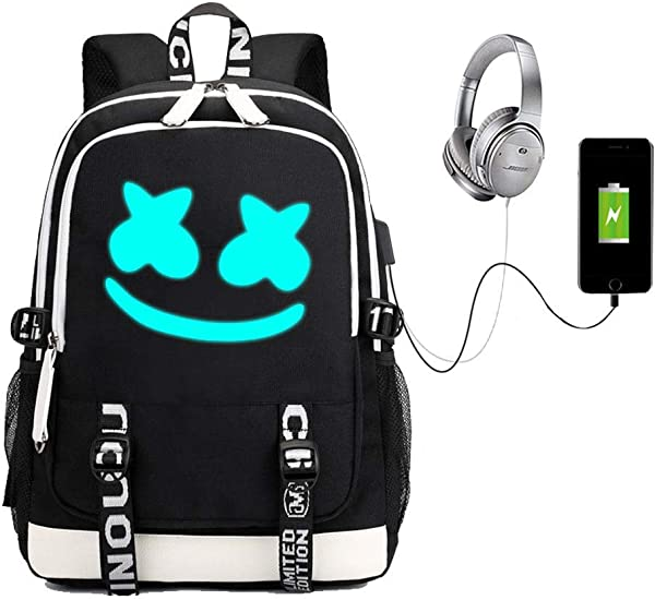 MGKPE Schoolbags Bookbag Marshmellow Backpack Laptop Backpack With USB Charging Travel Port Camping Outdoor For Boys And Girls Black