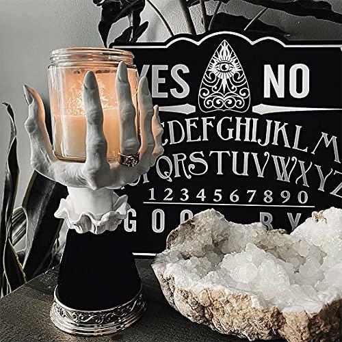 Resina Palm Bandeja Candelabro Decoración de brujas de Halloween Moda bruja mano cráneo resto, candelabro, soporte Decoración gótica, resina creativa decoración de fiesta en la pared colección