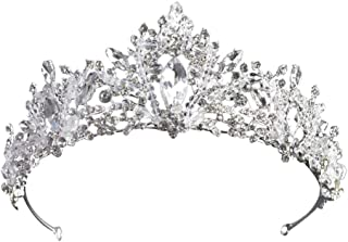 SOLUSTRE Baroque Queen Crown Vintage Crystal Wedding Tiara Bride Pageant Crown Headband Headpiece Hair Jewelry Photo Props...