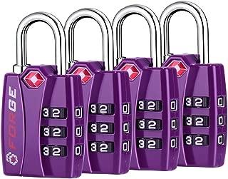 TSA Lock Purple 4 Pack - Open Alert Indicator, Easy Read Dials, Alloy Body