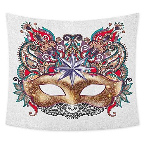 Tapiz Hippie de Mardi Gras para Colgar en la Pared, mscara de Carnaval Veneciano, Silueta con Elementos Ornamentales, Disfraz de Mascarada, Tapiz de Pared, decoracin Bohemia, Multicolor