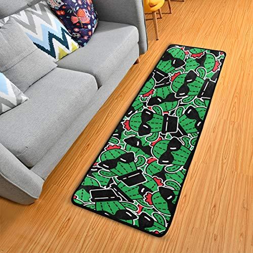 Mnsruu Funny Cactus In Gafas de Sol Runners Area Rugs Alfombra larga de pasillo pasillo 183 x 60 cm con parte trasera antideslizante para el hogar, sala de estar, oficina y cocina