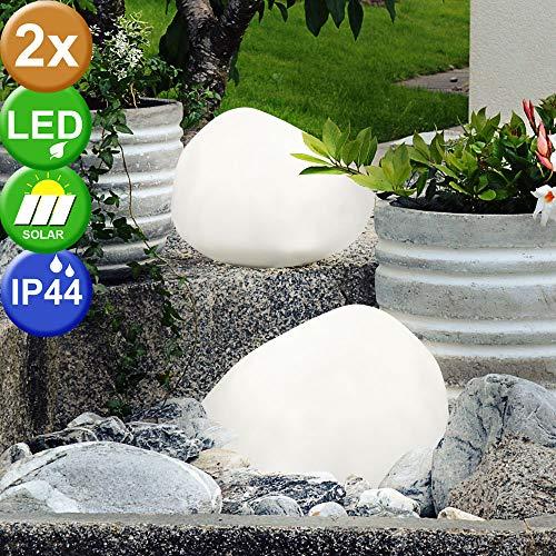 2er Set LED Solar Leuchten Weg Beleuchtungen Außen Lampen IP44 Stein Optik Länge 17,8 cm satiniert