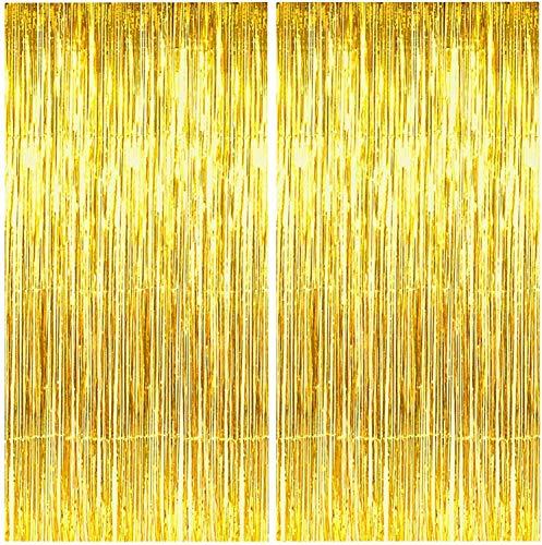 AIYANG 2 Pack Metallic Lametta Vorhänge Spiralen Girlande,Folie Vorhang Fransen Vorhänge,Lametta Vorhänge Dekoration für Weihnachten Neujahr Geburtstag Hochzeit Photo Hintergrund( 1*3m) (Golden)