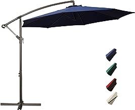 RUBEDER Offset Umbrella - 10Ft Cantilever Patio Hanging Umbrella,Outdoor Market Umbrellas with Crank Lift & Cross Base (10 Ft, Navy)