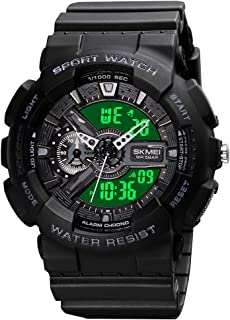 Mens Digital Military Watch Waterproof 50M Sports Analog Wrist Watch for Men Black Outdoor Shock Electronic Tactical LED B...