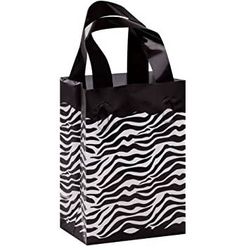 Case of 25 Small Zebra Plastic Shopping Bags