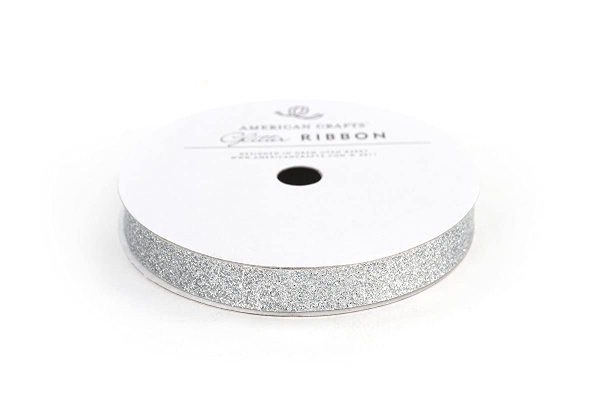 American Crafts Glitter Ribbon Strips, 3/8-Inch, Solid Silver