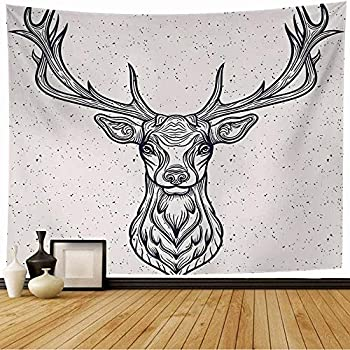 Starobos Tapestry Wall Hanging Whitetail Horned Deer Graphic Head Texture White Design Rack Animals Tattoo Wild Wildlife Vintage Home Decorations for Living Room Dorm Decor 80x60 Inch