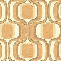 生のり付き 壁紙 幾何学 レトロ オレンジ 販売単位1m BB1821 BB9824