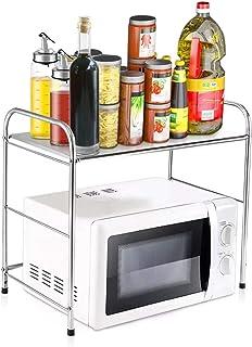 Zhicaikeji Grille de Four à Micro-Ondes Micro-Ondes MODIBLES Portant CARTAINS Cuisine Acier Inoxydable Vaisselle Spice Sto...