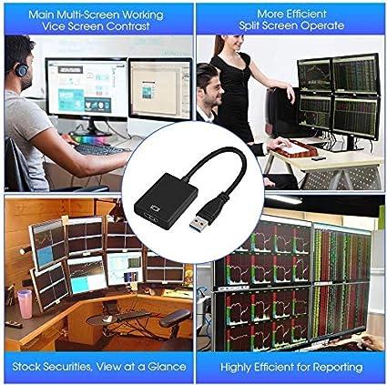 USB auf HDMI Adapter TWSCOM/® USB 3.0 auf HDMI Adapter Full HD Video Audio Multi-Display Konverter Adapter f/ür PC Laptop Projektor HDTV kompatibel mit Windows 10//8.1//8//7