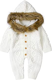 Camidy Infant Baby Boy Girl Knitted Sweater Fur Collar Hooded Jumpsuit Bodysuit Clothes