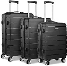 Wanderlite 3 Pcs Luggage Set 100% Polypropylene Hard Shell Suitcase Set with Dual Wheels, Black
