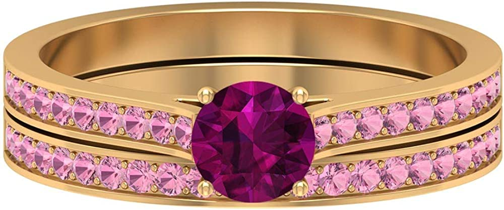 5.00 MM Solitaire Rhodolite Ring, 1.30 MM Round Cut Tourmaline Eternity Band, Side Stone Ring, Gold Wedding Rings Set (AAA Quality), 14K Gold