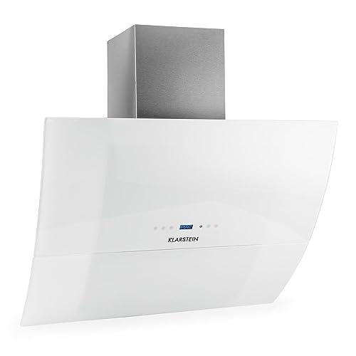 Klarstein RGL90WH • Hotte aspirante • Hotte aspirante murale • Évacuation/Recyclage • 3 niveaux de performance • Évacuation d'air max: 600 m³/h • Acier inoxydable • Verre • LED • Montage mural • Blanc