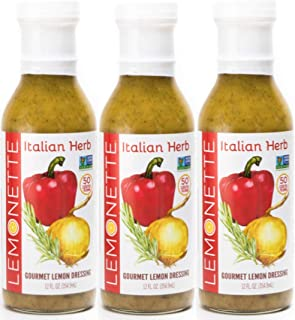 LEMONETTE DRESSINGS Salad Dressing & Marinade ITALIAN HERB 3-PACK: Non-GMO Certified, Vinegar-Free, Sugar Free, Low Cal, Low Fat, Gluten Free, Soy Free, Dairy Free, Vegan, Canola Free, Keto