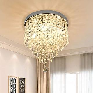 Depuley Lustre Plafonnier Cristal de Salon à Design Moderne, Lampe de Plafond Diamant Argenté pour Chambre à Coucher, Sall...