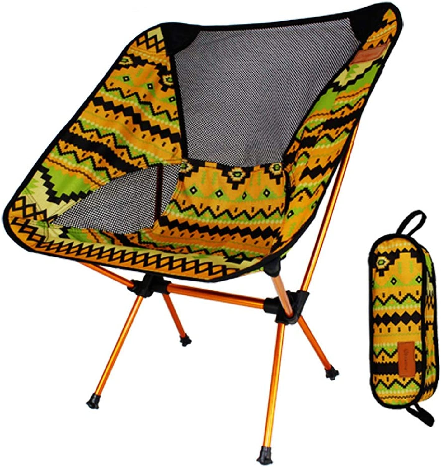 Ultralight Folding Chairs Portable Fishing Chair with Carry Bag for Outdoor Activities,Camping,BBQ, Beach,Backpacking ,Super Comfort,Versatility (color   Yellow)