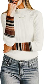 Miessial Wonen's Mock-Neck Sweater Pullover Stripe Long Sleeve Knit Basic Tops