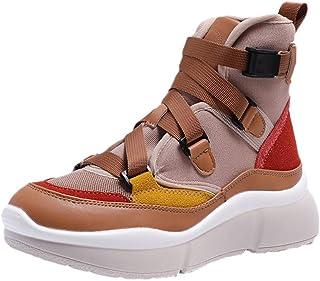 Sport Pantshoes Winter Walking Boots Wedge Platform Desert Women Ladies Tactical Military Combat Lace Up Insoles (Color : Yellow, Size : 4.5 UK)