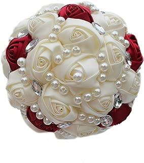USIX Handmade Simple Crystal Rhinestone Pearl Decor Burgundy Ivory Satin Rose Bridal Holding Wedding Bouquet Wedding Flower Arrangements Bridesmaid Bouquet(Dia 15cm/6x9