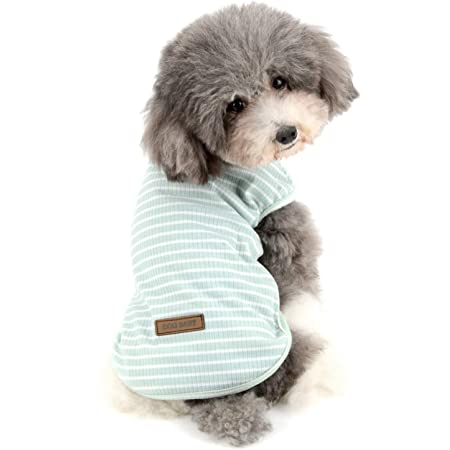 RANPHY縞柄ペット服 柔らかい 綿製Tシャツ 愛犬 小型犬 可愛い半袖 タンクトップ 両足のペット服 春夏プルオーバー 犬用 わんこ服 通気 散歩 お出かけ 吸水 速乾 ベス ト ペット用品(グリーン M)