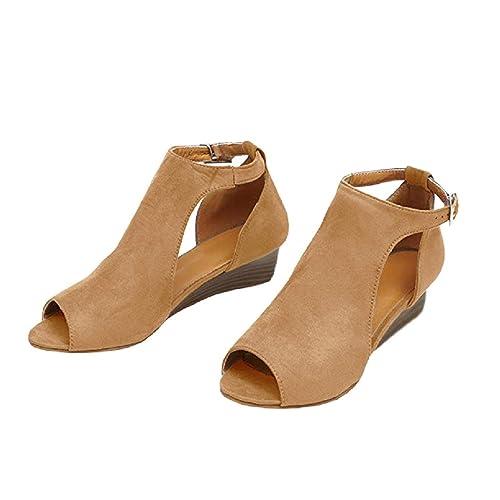 679a3740cf1 BBalizko Womens Open Toe Ankle Buckle Cut Out Low Heel Strap Bootie Boots