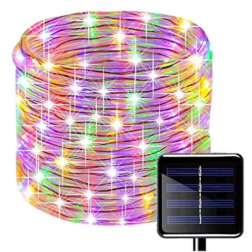 KINGCOO 100 LEDs Solar Rope String Lights, Waterproof 39ft/12M Copper Wire Outdoor Tube Fairy String Lights for Christmas Garden Yard Path Fence Tree Backyard (Multi)