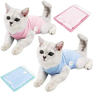 PETCASA Professional Recovery Suit for cat Abdominal Wounds or Skin Diseases, After Surgery Wear, E-Collar Alternative for Cats Dogs, Home Indoor Pets Clothing