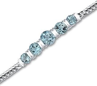 Peora Swiss Blue Topaz Bracelet Sterling Silver 5.00 Carats 5 Stone Design