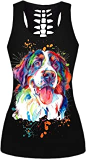 HoneyStore Women's Tank Tops Skull Printed Graphic Tees Workout Yoga Outfits