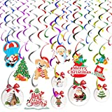 HIDARLING Juego de 24 decoraciones de Navidad para colgar en el techo, decoración de Papá Noel, copo de nieve, muñeco de nieve, adornos para decoraciones de fiesta de Navidad (multicolor)