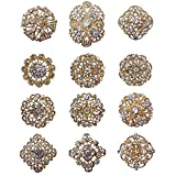 'Vow 12px Silver Gold Plated Crystal Brooches Flower Floriated Brooch Collar Pin Rhinestone Corsage Bouquet Décor