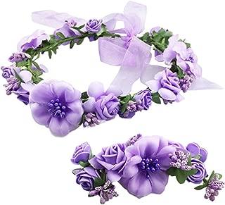 Coolwife Flower Crown Wedding Hair Wreath Floral Headband Garland Wrist Band Set