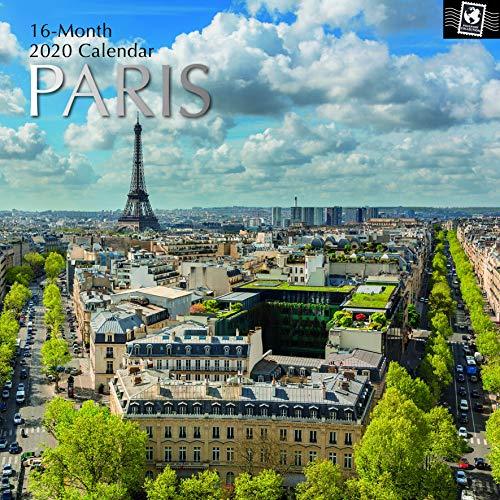 Calendario 2020 de pared con imágenes de París (30 cm x 30 cm), vista mensual, 16 meses. Temática de viajes y destinos turísticos. Incluye 180 pegatinas recordatorias