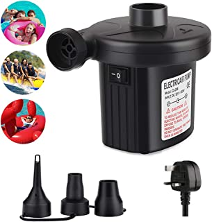 Electric Pump Quick Inflator Pump for Air Bed Paddling Pool Swimming Ring Camping Inflatables Pump with 3 Nozzles UK Plug