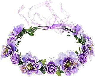 niumanery Flower Headband Rose Handmade Flowers Floral Garland Hair Band Crown Tiara Decoration Adjustable Women Girls Hea...