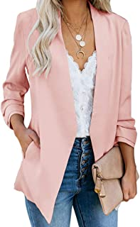 Womens Casual Blazer Ruched 3/4 Sleeve Open Front Relax Fit Office Lightweight Cardigan Jacket Blazers